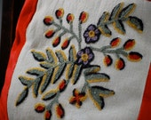 Velvet Crewel Embroidered Pillow