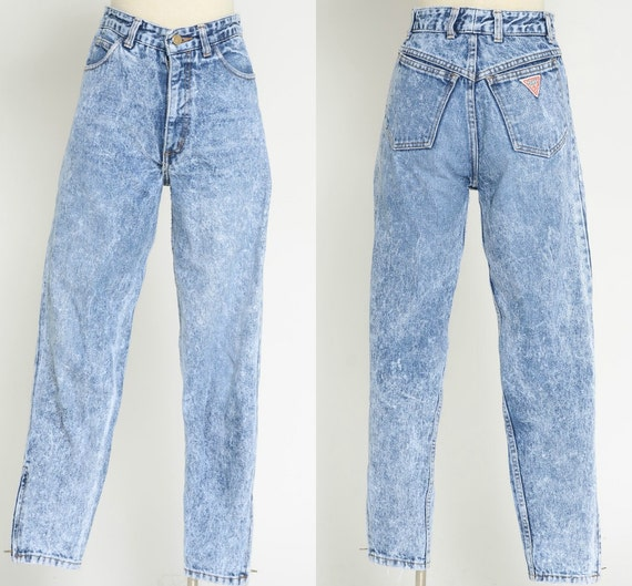 80s vtg guess high wasited acid wash jeans size 29
