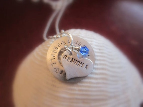 My Favorite People Call Me Nana- Sterling Silver Hand Stamped Pendant