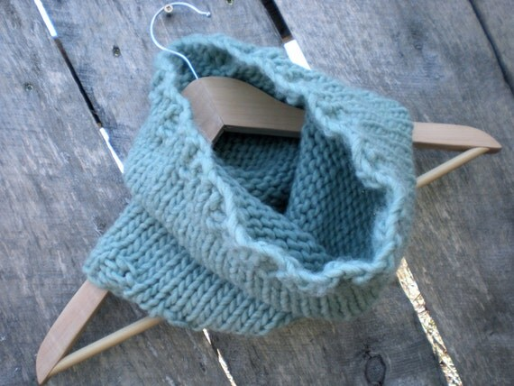 CLEARANCE womens knit cowl neck warmer scarf // sky blue