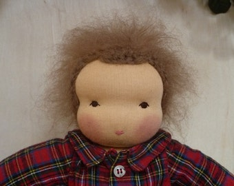 Blossom Waldorf Doll with Red Plaid Shirt and Blue Jeans 12 inch 20% Off Sale