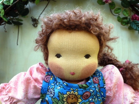 Blossom Waldorf Doll with Pink Floral Dress and Blue Sunflower and Honey Bee Floral Print Pinafore 12 inch