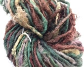 Earthy recycled sari silk yarn. Artisan craft supplies. Fibre art. Unique artisan supplies. RESERVED for Yulia.