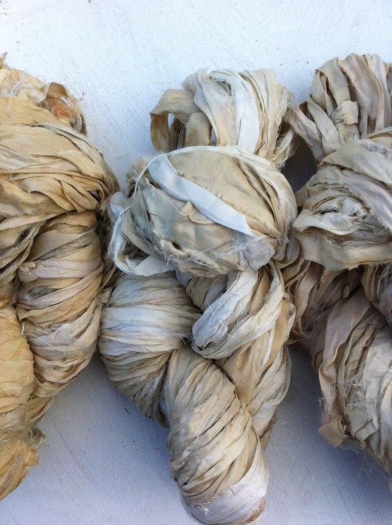 Natural undyed sari silk ribbon. 300grams. Craft ribbon. Art yarn. Knitting yarn. Inspirational pure silk yarn.