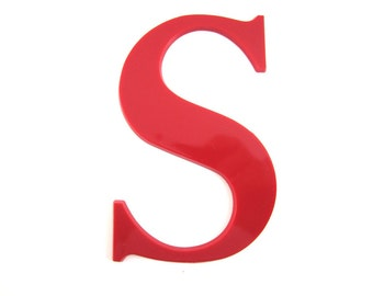 "letter S red plastic 5"" tall"
