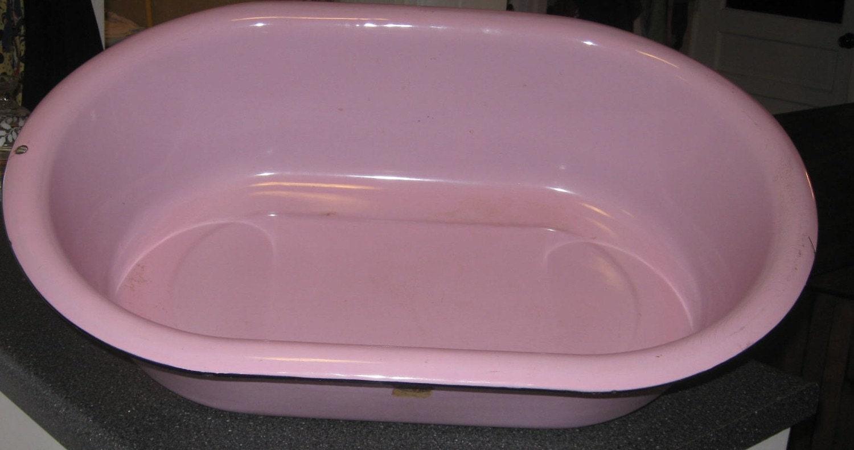 Vintage Pink Enamel Baby Bathtub French Chic Planter