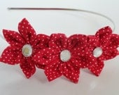 Fabric Flower Headband - Adult Flower Headband, Head band, Red, Polka Dot, Hair, Fashion, Style