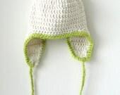 Crochet Earflap Hat - Off White w/ Lime Green