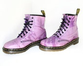 DEADSTOCK // Purple Pink Abstract Paint Splatter Vintage Grunge Dr. Martens / 8