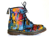 RARE 90's Grunge Abstract Painterly Velvet Dr / Doc Martens /  Mens 9