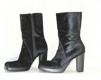 Vintage 90's Avant Garde Black Pony Hair High Heel Platform Boots / 8