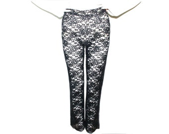 90s MOSCHINO Sheer Lace High Waisted Moschino Pants // 5 // M