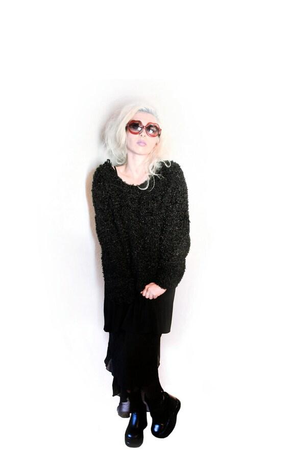 Monster Goth // 90's Grunge Black Cropped Shag Sweater