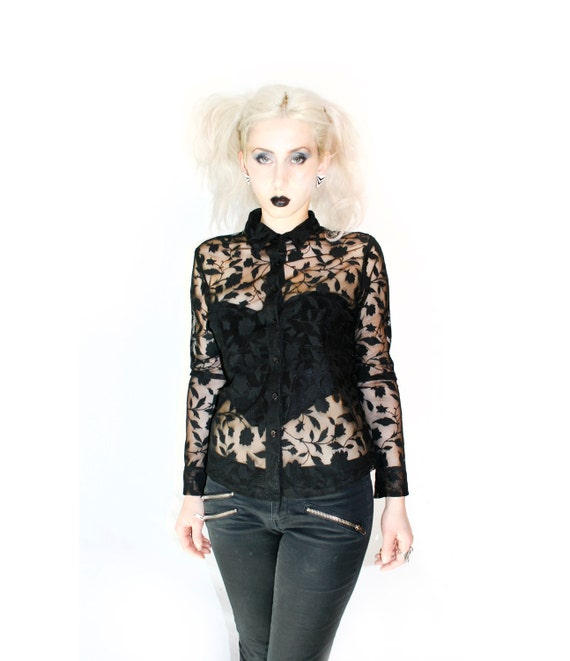 90's Goth Sheer Black Floral Burn Out See Through Button Up blouse