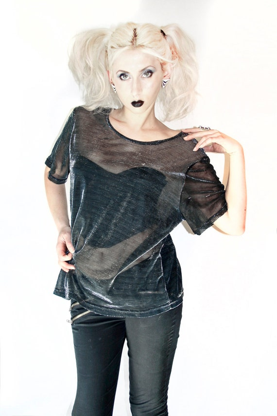 90's Grunge Sparkle Drape Sheer Black and Silver Boxy Shirt