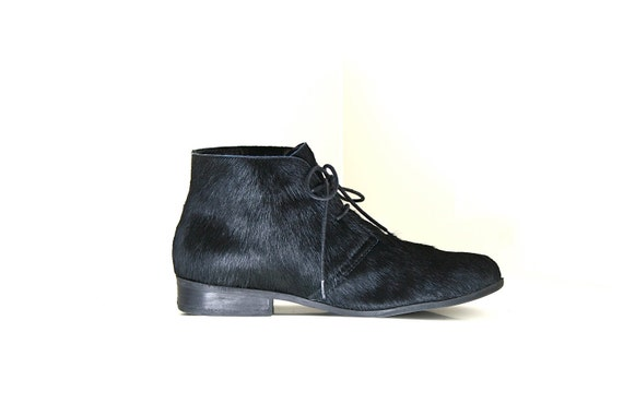 Minimal Modern Black Pony Hair Lace up Ankle Boots / Mens 9.5
