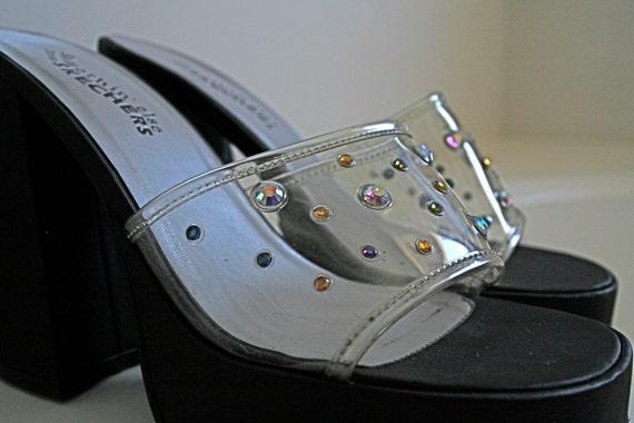 SALE // 90's Clueless Clear Plastic and Rhinestones Platform Chunky Heels