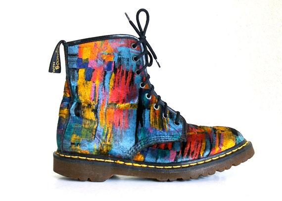 RARE 90's Grunge Abstract Painterly Velvet Dr / Doc Martens /  Mens 9