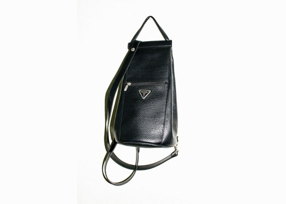 90's Black Leather Guess Satchel Back Pack