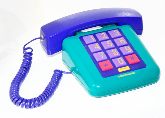 80's / 90's Colorful Conair Purple and Teal Telephone