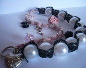 Chic Powder pink and Black Paris Bracelet