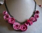 Precious Pink Queens Roses Necklace