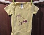 Organic baby onesie seagull silkscreen yellow onesie purple pink ink