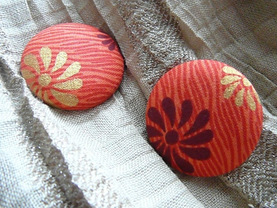 Tiger Lily - Button Earrings
