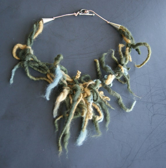 Necklace Fiber Art Merino knotted tufted twisted hand dyed  semi felted
