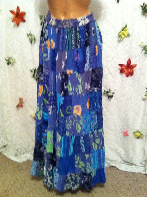SMALL/MED, Blues Patchwork Skirt