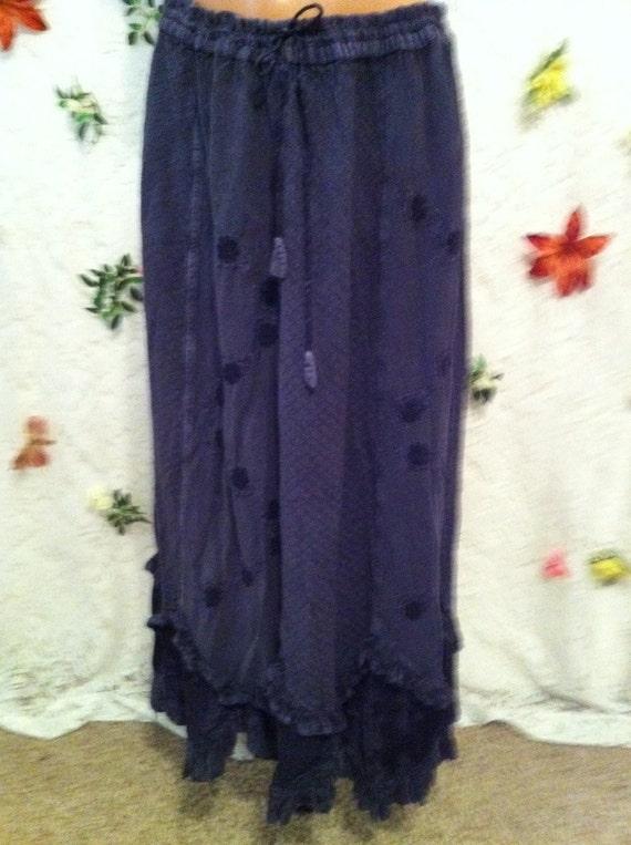 Embroidered Ruffle Hem Skirt, Open Size