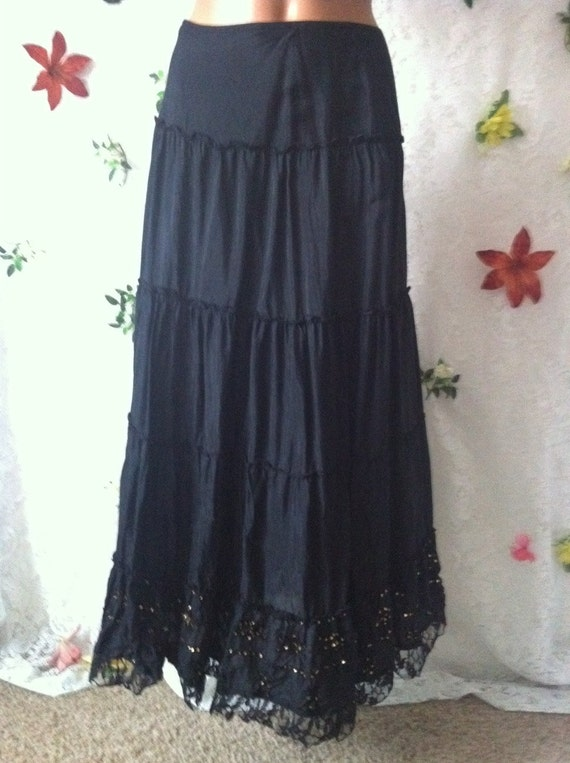 MEDIUM, Black Tiered Boho Gypsy Skirt with Sparkle