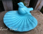 Petite Garden Bird Bath - Rustic Cast Iron - Distressed - Vintage Inspired - Sea Bliss Bleu Light Blue - Metal Decor - Aqua Decor