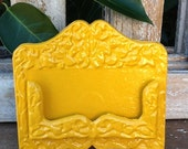 Bright Mustard Yellow Business Card Holder-Distressed Metal- Retro Feel-Cast Iron - Marigold Farmhouse Modern Yellow - Metal Decor-February