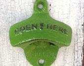 Mod Green Bottle Opener -Industrial - Bright Cast Iron - Soda Pop  - Vintage Pea Green - Wall Mount - Lime Green - Autumn Decor -Fall Winter