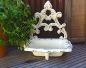 Cream Wall Mount / Fleur De Lis / Cast Iron Soap Dish /  Shabby Chic Cream / Distressed Scroll / Metal Wall Decor