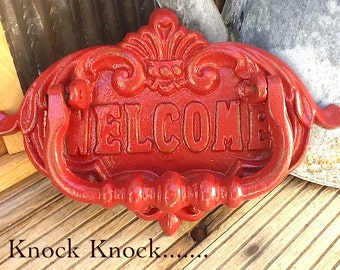 Red Door Knocker / Painted Cast Iron /  Vintage Inspired / Home Decor / Country Red Welcome Sign / Metal Decor/Fall Trends/New Home