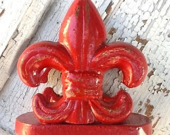 Business Card Holder / Fleur De Lis /  Vintage Inspired / In Rustic Country Red / Bright Cast Iron - Distressed-December Trends