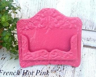 Business Card Holder - Magenta Cast Iron- Old Fashioned -Vintage Inspired-French Hot Pink - Bright Cast Iron - French Decor-Berry Pink