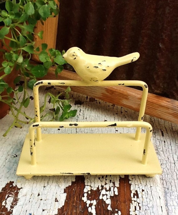 Bird Business Card Holder-Desk Accessories-Light Yellow Office Decor-Old Fashioned-Fresh-Buttercup Modern Yellow -Bright Metal-Office-Spring