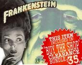 Halloween Frankenstein, Monster, Vintage, Retro, Graphic Digital Collage Sheet, Download and Print (13 piece set)
