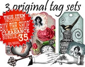 Original Art Tags and Coordinating Embellishment sets - Graphic Digital Collage - Download and Print (9 piece set)