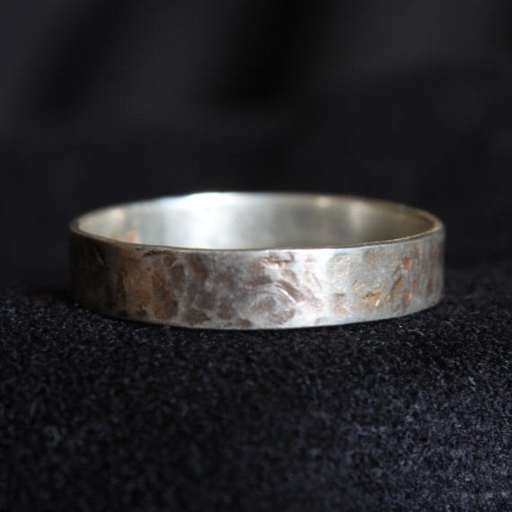 Sterling Silver Hammered Textured Band Ring with Patina