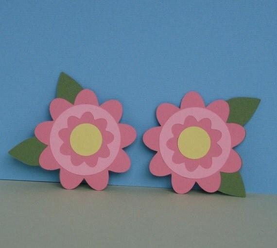 Pink Flower Die Cuts Set 4
