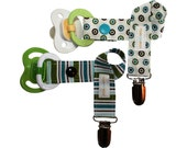 Boy Pacifier Clip Set of 2 in Blue, Brown & Green Polka Dots and Stripes
