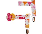 Girls Pacifier Clip - Set of 2 - Owls and Argyle in Orange and Pink - Unique Baby Girl Gift