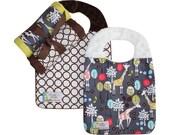 Baby Boy or Girl Gift Set - Giraffe Garden: Burp Cloth Set, 2 two Reversible Bibs and FREE Binky Keeper