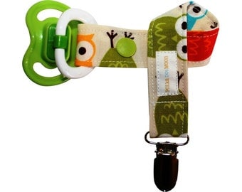 Modern Owls Pacifier Clip For Boys - New baby gift - Free Shipping