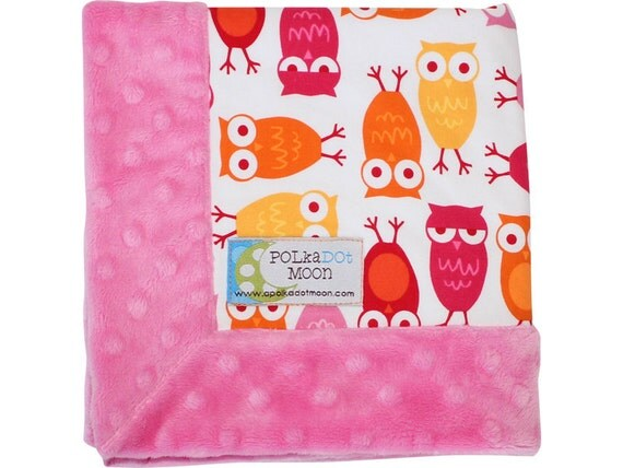 FREE SHIPPING! Baby Girl LUXE Lovey / Security Blanket -Orange & Pink Owls on Pink Minky-Unique Baby Girl Gift