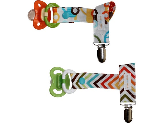 Boys Pacifier Clip Set of 2 in Cars and Blue, Orange and Brown Waves - Cute Baby Gift- FREE SHIPPING